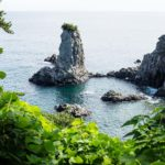 Volcanic Rock formation Oedolgae surrounded by leaves close in the ocean at a sunny day at Seogwipo, Jeju Island, Korea