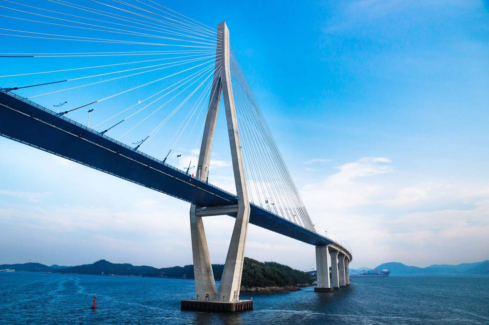 Giant bridge on the ocean viewed from frog perspective in Mokpo, South Korea